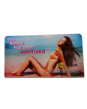 "Clear Acrylic Sign  ""This Sunbed Has Been Sanitized"""